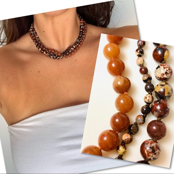 Jewelry - 3 strand bead / stone necklace 12k GF fall colors